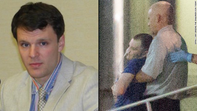 An American college student detained for two months in North Korea gave an emotional press conference Monday.   June 13, 2017; Cincinnati, OH, USA; Otto Warmbier, a 22-year-old college student detained and imprisoned in North Korea is carried off of an airplane at Lunken Airport in Cincinnati. Warmbier has reportedly been in a coma for the past 15 months. Mandatory credit: Sam Greene/The Enquirer via USA TODAY NETWORK  *** Please Use Credit from Credit Field **