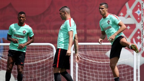 Pepe and Ronaldo take part in a training session in Kazan.