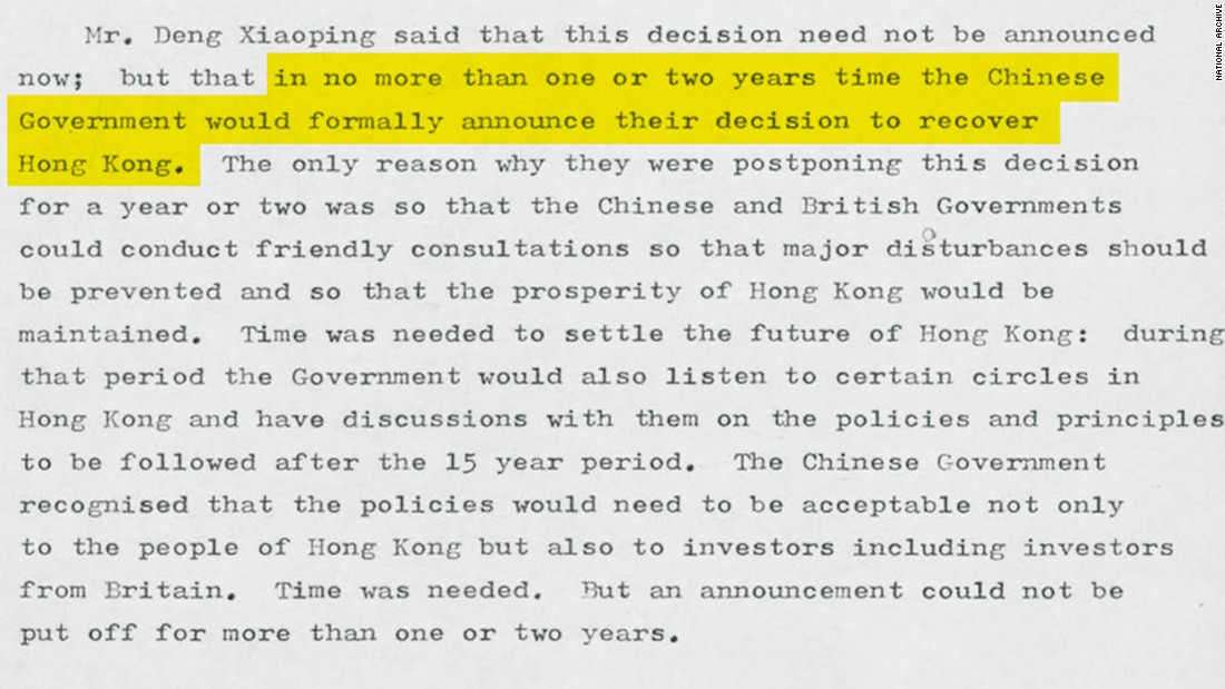Chinese paramount leader Deng Xiaoping warned British Prime Minister Margaret Thatcher in September 1982 Beijing was becoming impatient over the unresolved issue of Hong Kong's future. Original image altered for clarity.