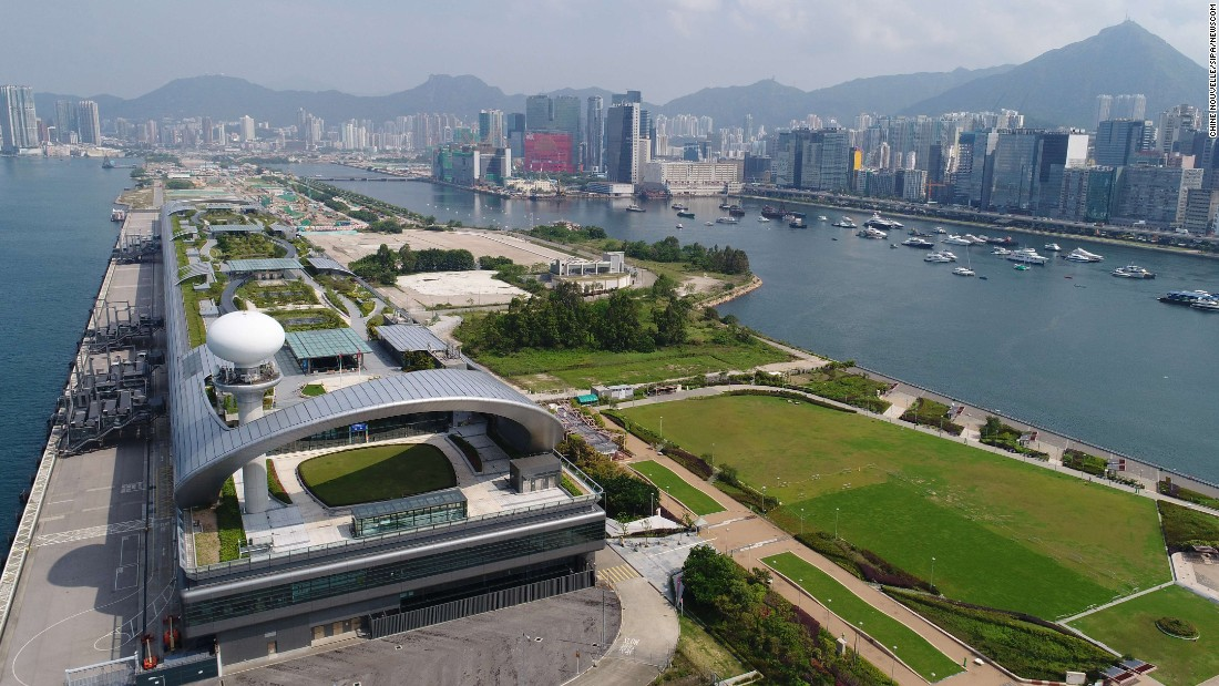 Aerial photo taken on May 17, 2017 shows the Kai Tak Cruise Terminal Park on the former location of the airport.
