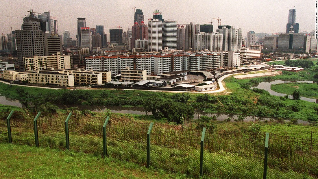 A photo take on June 21, 1997 shows the Chinese city of Shenzhen across the border from Hong Kong.