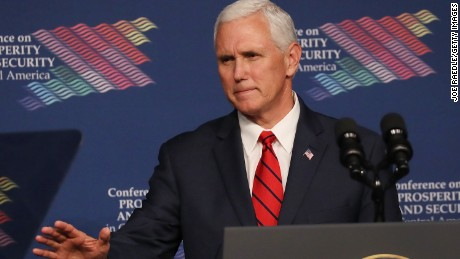 MIAMI, FL:  Vice President Mike Pence speaks during the Conference on Prosperity and Security in Central America at the Florida International University on June 15, 2017 in Miami, Florida. The conference brought together government and business leaders from the United States, Mexico, Central America, and other countries to address the economic, security, and governance challenges and opportunities in El Salvador, Guatemala, and Honduras.  (Joe Raedle/Getty Images)