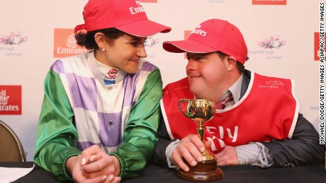 Michelle Payne with brother Stevie after her Melbourne Cup success.