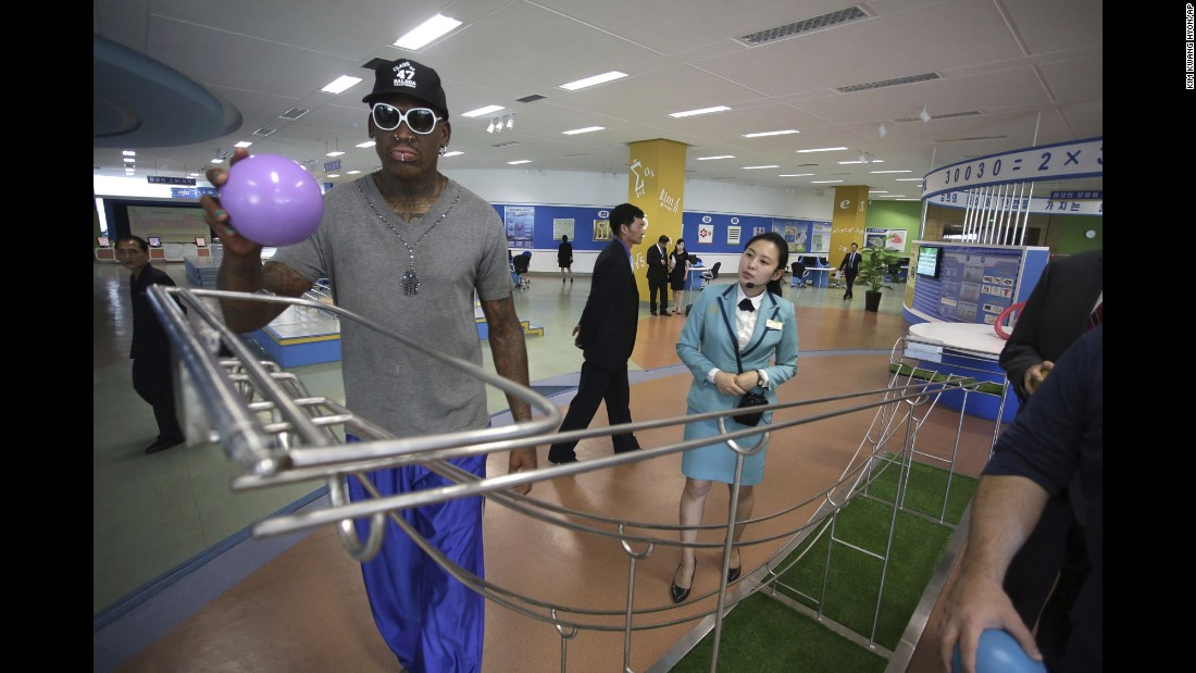 "NBA Hall of Famer Dennis Rodman visits the Sci-Tech Complex in Pyongyang, North Korea, on Wednesday, June 14. Rodman <a href=""http://www.cnn.com/2017/06/13/politics/dennis-rodman-north-korea/index.html"" target=""_blank"">has visited the country</a> at least four times, with three of the visits taking place between 2013 and 2014. A senior US official said Rodman was not visiting in any official capacity."