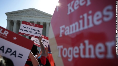 WASHINGTON, DC - APRIL 18:  Pro-immigration activists gather in front of the U.S. Supreme Court on April 18, 2016 in Washington, DC. The Supreme Court is scheduled to hear oral arguments in the case of United States v. Texas, which is challenging President Obama's 2014 executive actions on immigration - the Deferred Action for Childhood Arrivals (DACA) and Deferred Action for Parents of Americans and Lawful Permanent Residents (DAPA) programs. (Photo by Alex Wong/Getty Images)