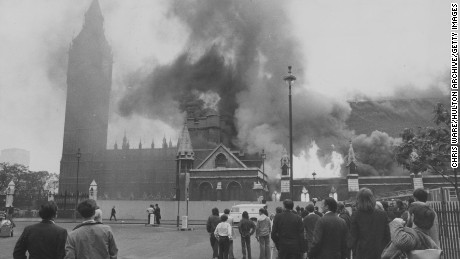 Flames leap from Westminster Hall at the House of Commons in London after an IRA bombing in 1974.