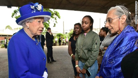 Queen Elizabeth II meets members of the community affected by the fire at Grenfell Tower in west London.