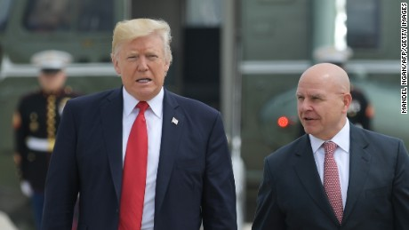 US President Donald Trump and National Security Advisor H. R. McMaster board Air Force One before departing from Andrews Air Force Base for Miami, Florida on June 16, 2017. (MANDEL NGAN/AFP/Getty Images)