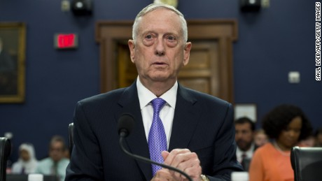US Secretary of Defense James Mattis arrives to testify on the Defense Department budget at a House Appropriations Committee Defense Subcommittee hearing on Capitol Hill in Washington, DC, June 15, 2017. (SAUL LOEB/AFP/Getty Images)