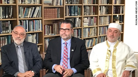 The clergymen (from left to right) interviewed by CNN's Dan Simon. Temple Israel Rabbi Emeritus Aryeh Azriel; Countryside Community Church Senior Minister Rev Eric Elnes, Ph.D.; American Muslim Institute Imam Mohamad Jamal Daoudi