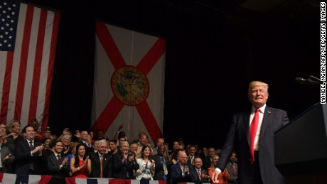 President Donald Trump speaks in Miami on June 16, 2017.