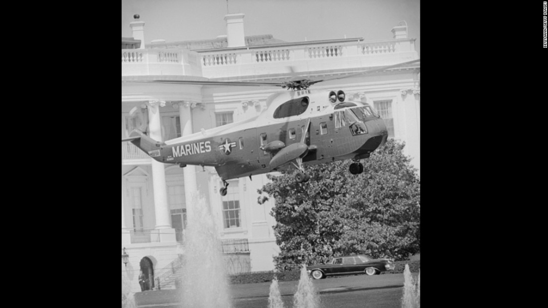 Marine One takes off from the South Lawn of the White House en route to Camp David with JFK on board, April 1963, just seven months before his assassination.