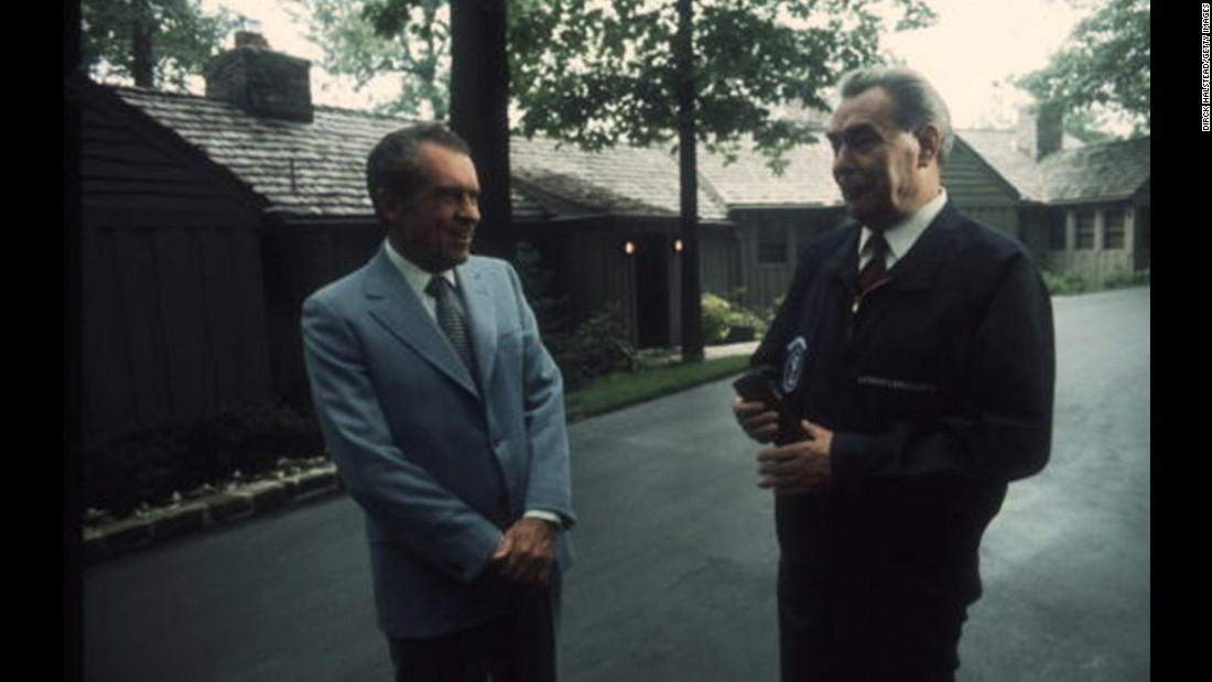 President Richard Nixon hosts Soviet leader Leonid Brezhnev in June 1973, ahead of the Nuclear War Prevention Agreement.