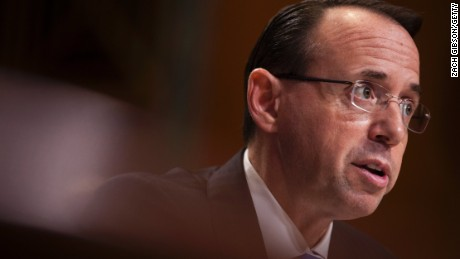 Deputy Attorney General Rod Rosenstein testifies during a Senate subcommittee hearing on the Justice Department's proposed FY18 budget on June 13, 2017, in Washington.