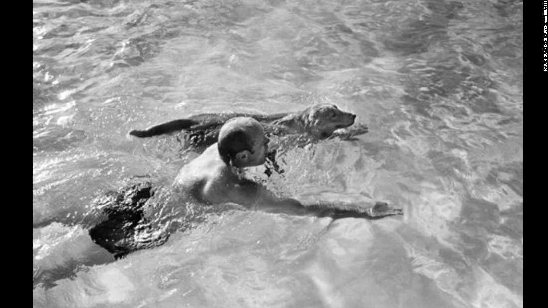 Ford again taking in some recreation, swimming with his dog, Liberty, in February 1974.