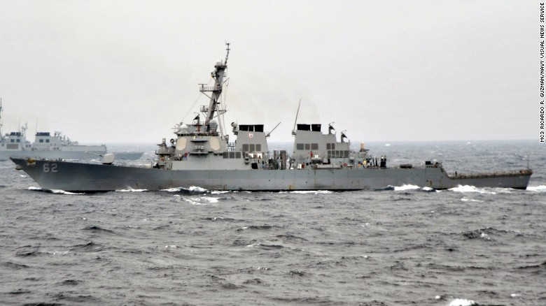 US destroyer takes on water after collision