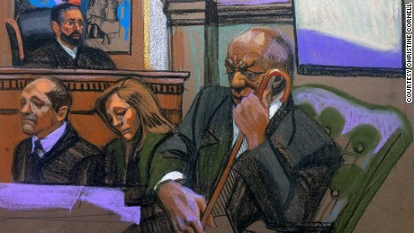 Court sketch during Bill Cosby's trial for aggravated indecent assault.