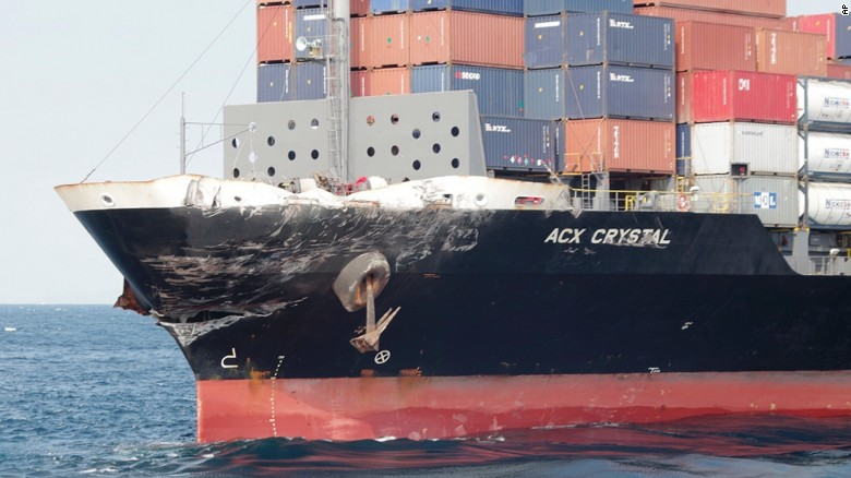 Damage to the Philippine container ship ACX Crystal is seen after it collided with the USS Fitzgerald in the waters off Izu Peninsula, this photo released by Japan's coast guard shows.