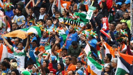 Supporters of India salute a boundary during the ICC Champions Trophy match on June 4.