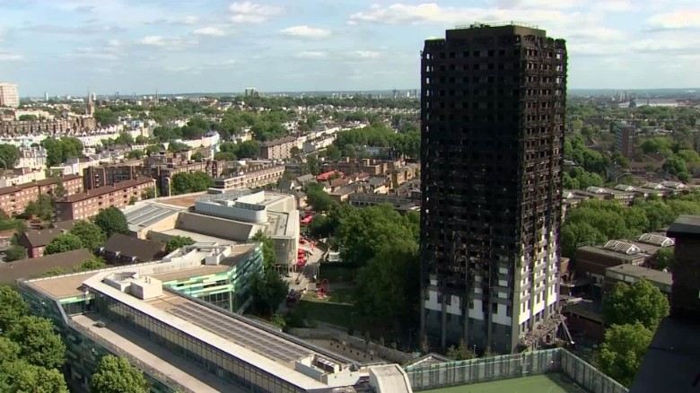 Queen Elizabeth II visits relief centre for victims of tower block inferno