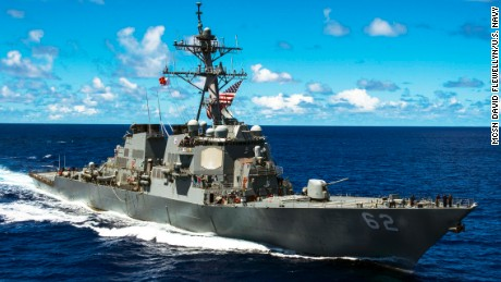The guided-missile destroyer USS Fitzgerald collided with the ACX Crystal merchant vessel Sunday morning.