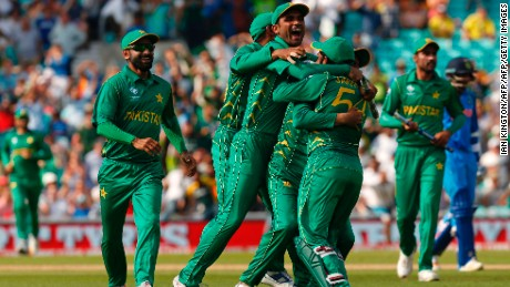Pakistan's players celebrate their victory over India on the pitch after the ICC Champions Trophy final cricket match between India and Pakistan at The Oval in London on June 18, 2017.