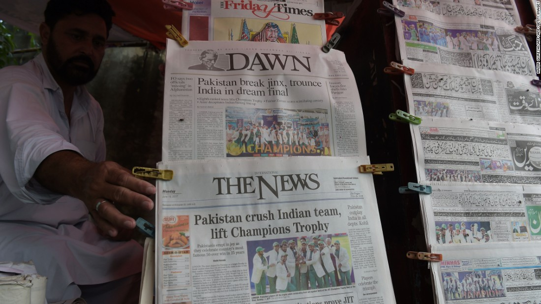 Pakistan's win made front and back page news in Pakistan.