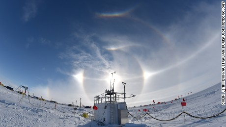 "A ""sun dog"" is seen above an ARM (Atmospheric Radiation Measurement) instrument in West Antarctica, just before the effects of an extensive summer surface melt event occurred."