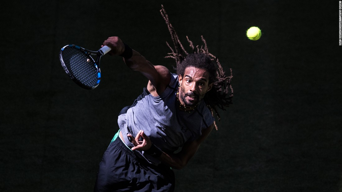 Dustin Brown serves during the Gerry Weber Open on Monday, June 19. He defeated Vasek Pospisil to move on the next round of the tournament, which is being held in Halle, Germany.