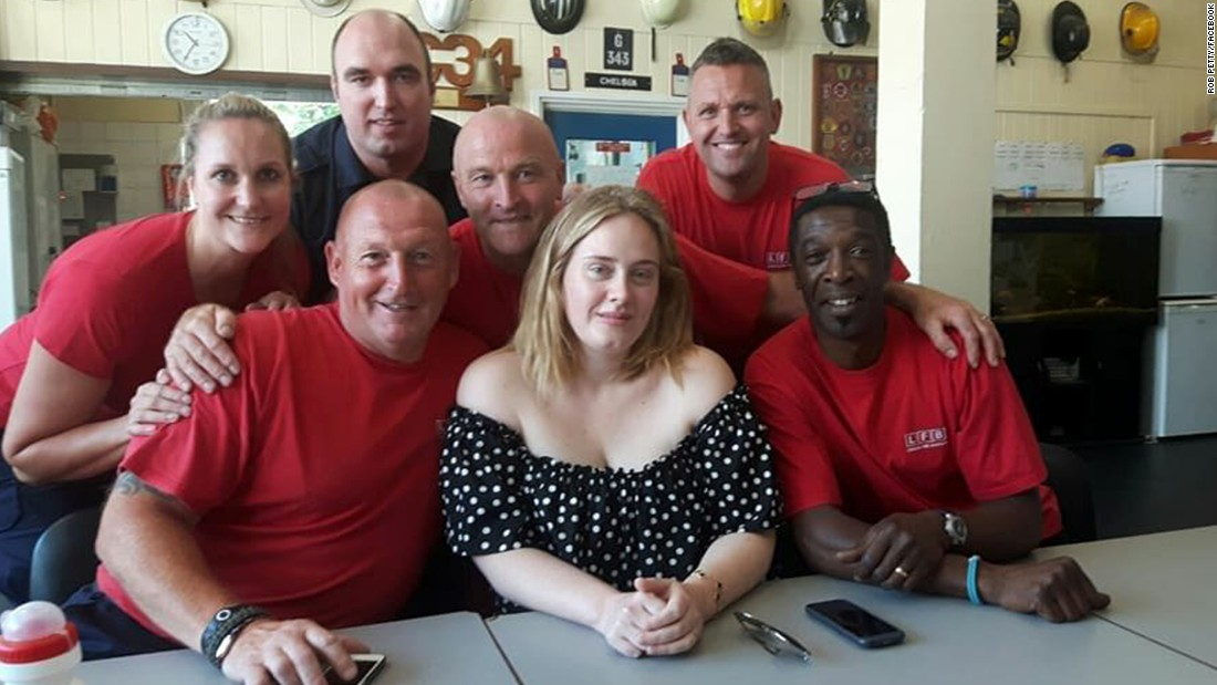 Adele Meets London Firefighters For 'tea And A Cuddle'
