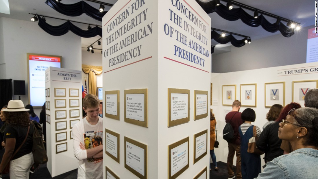 President Trump's tweets through the years were framed on the walls.