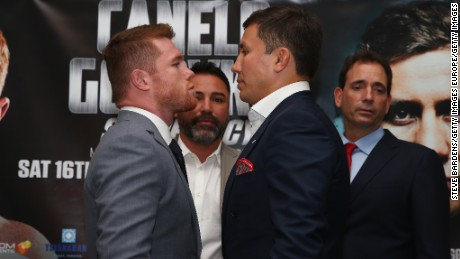 LONDON, ENGLAND - JUNE 19: Canelo Alvarez and Gennady Golovkin go head to head after the Canelo Alvarez vs Gennady Golovkin boxing press conference at the Landmark Hotel on June 19, 2017 in London, England.  (Photo by Steve Bardens/Getty Images)