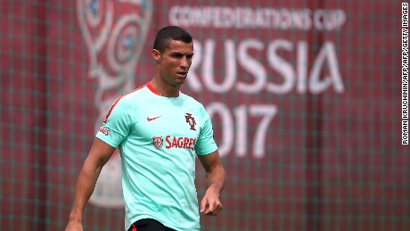 Portugal national team forward Cristiano Ronaldo takes part in a training session in Kazan on June 15, 2017, as part of the team's preparation for the Confederations Cup. / AFP PHOTO / Roman Kruchinin        (Photo credit should read ROMAN KRUCHININ/AFP/Getty Images)
