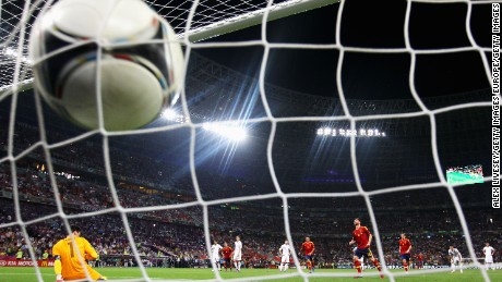 DONETSK, UKRAINE - JUNE 23:  Xabi Alonso of Spain scores the second goal from the penalty spot during the UEFA EURO 2012 quarter final match between Spain and France at Donbass Arena on June 23, 2012 in Donetsk, Ukraine.  (Photo by Alex Livesey/Getty Images)