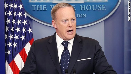 White House press secretary Sean Spicer speaks during a briefing at the White House, Tuesday, June 20, 2017 in Washington. (AP Photo/Alex Brandon)