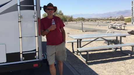 Randy Humiston finds something quite rare in Death Valley: A piece of shade.