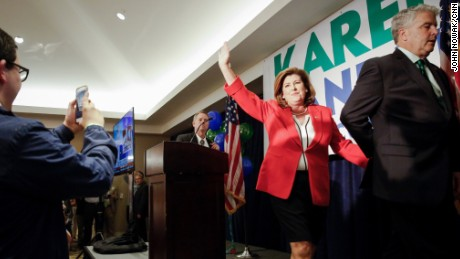 Karen Handel celebrates at her election party.