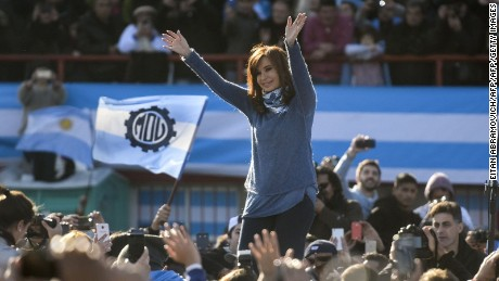 Argentinian former President (2007-2015) Cristina Kirchner waves during a rally in Buenos Aires on June 20, 2017. Kirchner launched her new Unidad Ciudadana (Citizen Unity) party but maintained suspense over whether or not she will run for the Senate in next October legislative elections. / AFP PHOTO / EITAN ABRAMOVICH        (Photo credit should read EITAN ABRAMOVICH/AFP/Getty Images)