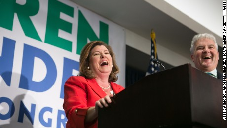 ATLANTA, GA - JUNE 20:  Georgia's 6th Congressional district Republican candidate Karen Handel gives a victory speech to supporters gathered at the Hyatt Regency at Villa Christina on June 20, 2017 in Atlanta, Georgia. Republican Karen Handel becomes the 6th Congressional district congress woman to replace Secretary of Health and Human Services Tom Price.  Handel defeated Democrat Jon Ossoff in the special election.  (Photo by Jessica McGowan/Getty Images)