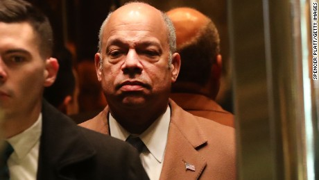 NEW YORK, NY - DECEMBER 16:  Homeland Security Secretary Jeh Johnson arrives  at Trump Tower on December 16, 2016 in New York City. President-Elect Donald Trump continues to hold meetings with potential members of his cabinet and others at his midtown  office.  (Photo by Spencer Platt/Getty Images)
