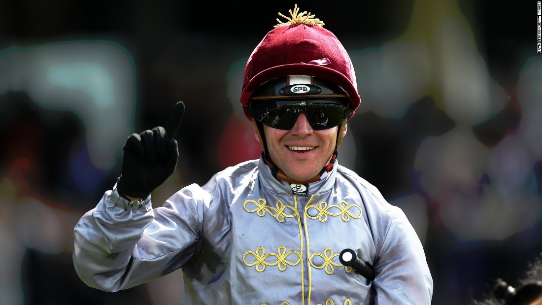 Gregory Benoist smiles after winning the Duke of Cambridge Stakes aboard Qemah.