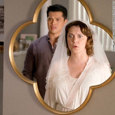 "Crazy Ex Girlfriend -- ""Can Josh Take A Leap of Faith?"" -- Image Number: CEG213a_370.jpg -- Pictured (L-R): Vincent Rodriguez III as Josh and Rachel Bloom as Rebecca -- Photo: Michael Desmond/The CW --  é2016 The CW Network, LLC  All Rights Reserved."