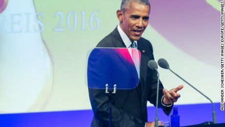 BADEN-BADEN, GERMANY - MAY 25: Former US president Barack Obama helds a speech during the German Media Award 2016 (Deutscher Medienpreis 2016) at Kongresshaus on May 25, 2017 in Baden-Baden, Germany. The German Media Award (Deutscher Medienpreis) has been presented annually since 1992 to honor personalities from public life. (Photo by Alexander Scheuber/Getty Images)
