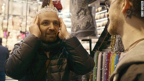 Mahmoud Hassino, the organizer for Mr. Gay Syria contest, getting prepared for the competition.