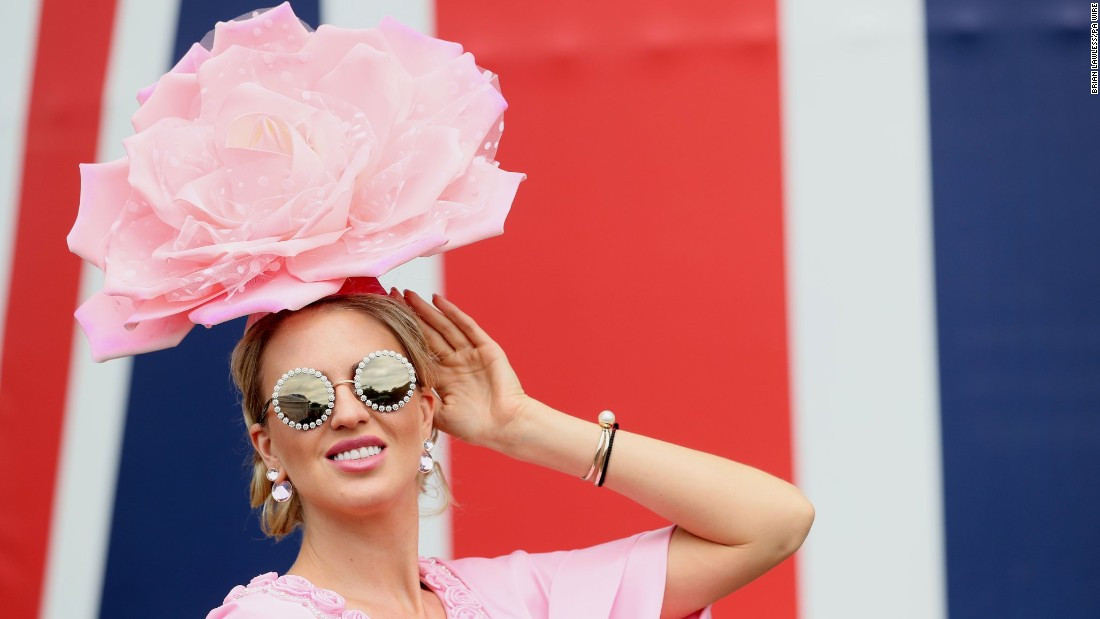 Plenty of celebrities attend this high-society event, such as Russian model Natalia Capchuk who is dressed in pink for Ladies Day.