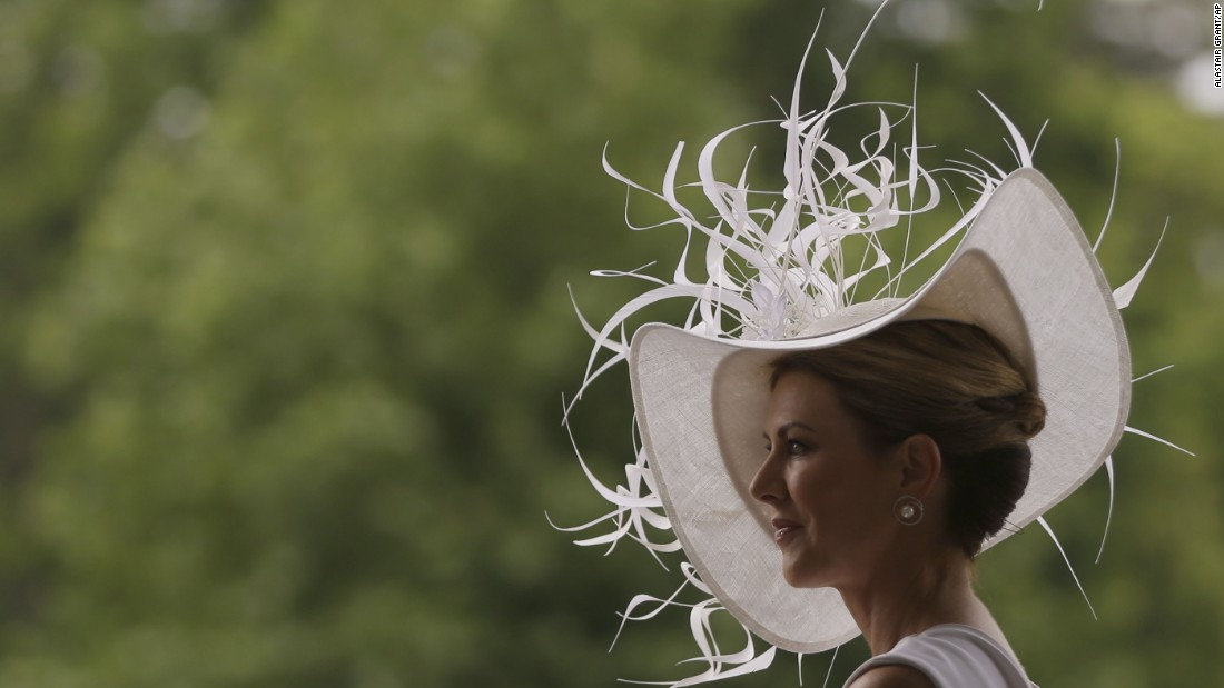 Barbra Studwick wears a white and feather ornate hat on the third day of the Royal Ascot horse race meeting, which is traditionally known as Ladies Day, in Ascot, England Thursday, June 22, 2017.