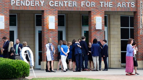 WYOMING, OH-JUNE 22:  People arrive at Wyoming High School for the funeral of Otto Warmbier June 22, 2017 in Wyoming, Ohio. Warmbier, the 22-year-old college student who was released from a North Korean prison last Tuesday after spending 17 months in captivity for allegedly stealing a propaganda poster, died Monday, June 19th in a Cincinnati hospital, after having been in a coma.  (Photo by Bill Pugliano/Getty Images)
