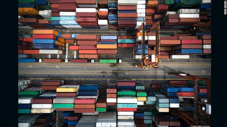 From above, Hong Kong's shipping containers resemble Legos.
