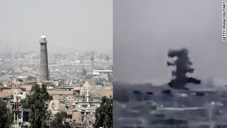 The moment historic Mosul mosque was destroyed