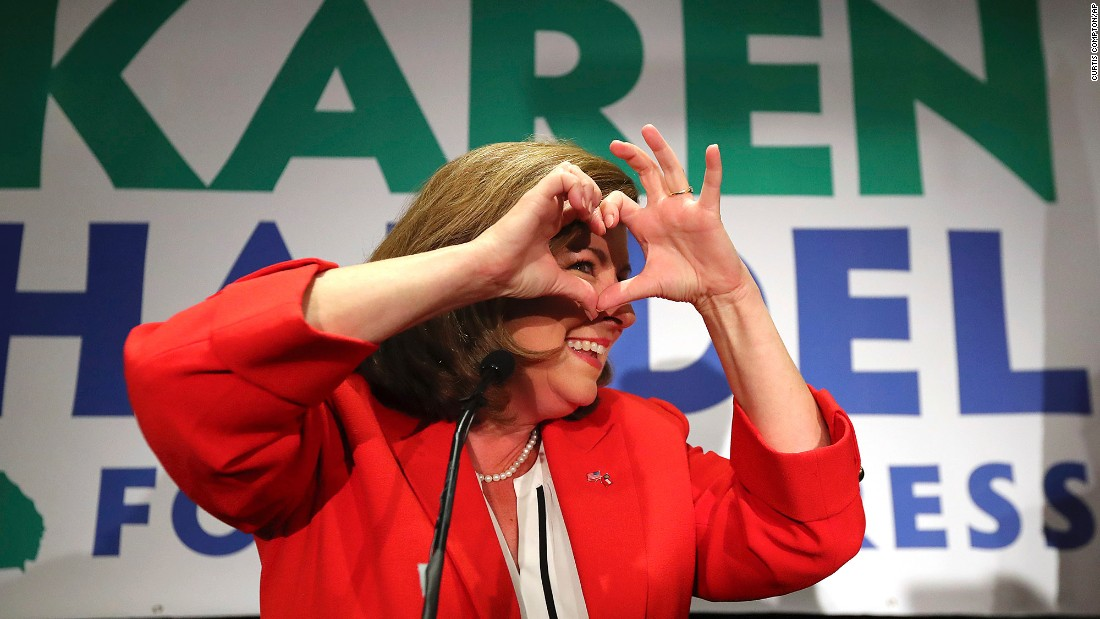 "Republican Karen Handel makes a heart symbol while thanking her supporters in Atlanta on Tuesday, June 20. Handel defeated Democrat Jon Ossoff in <a href=""http://www.cnn.com/2017/06/20/politics/georgia-house-results-ossoff-handel/index.html"" target=""_blank"">the most expensive US House race in history.</a> The Georgia seat had been vacated by Tom Price, who went on to become the secretary of Health and Human Services."
